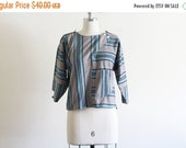 ON SALE Vintage Striped Cotton Shirt / Avant garde Modern