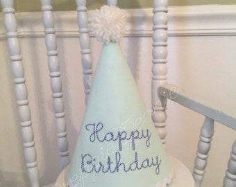 Mint Pique Birthday Hat with Periwinkle Thread