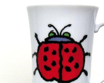 Vintage Ladybug Pedestal Coffee Mug by Ross Havers