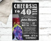 Male Birthday Invitation - Cheers to 40th, 50th, 60th - Adult invitation - Wine Party - Printable