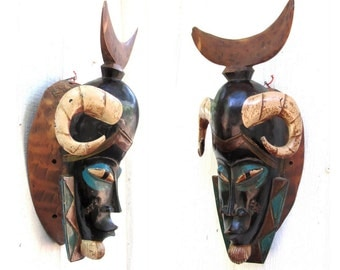 VINTAGE Carved African Mask - Hand Carved and Painted Horned Face with Crescent