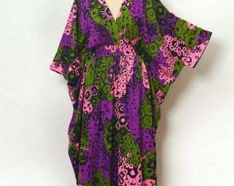 Vintage 60s Dress /  Dress / Maxi dress / Maxi dress / Festival Dress / Psychedelic  / 60s Caftan / 70s Dress / Tikki Dress  /