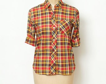 Vintage 50s Shirts / Pin up top / Retro / 50s cardigan / Vintage  / 1950s Shirts / Vintage blouses / Rockabilly / plaid shirt / rockabilly