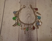 Handmade Victorian Beauty Theme Charm Bracelet w/ Glass Teardrop Bead Accents, Silver Tone