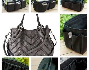 Purse organizer extra sturdy solid black extra large 30x12cm