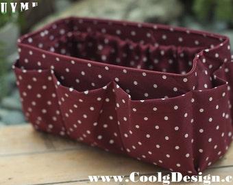 Purse Insert ORGANIZER Insert / Bag Organizer / Burgundy Polka Dots / Medium 22x8cm