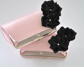 PINK and BLACK - Wedding clutch - Custom clutch - Bridal_Bridesmaid_Mother of the Bride_Prom