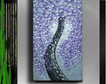 Oil Impasto Painting Original Abstract Ready Texture Modern Hallway Heart Silver Purple White Floral Tree Sculpture Painting by Je Hlobik