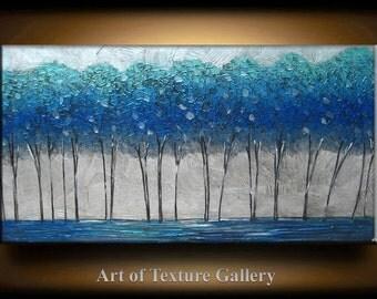 Abstract Painting 48 x 24 Big Original Texture Modern Aqua Blue Silver Tree Metallic Sculpture Knife Painting by Je Hlobik
