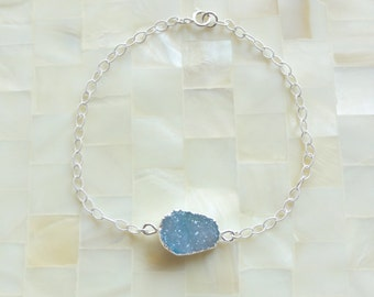 Silver Edge Sparkling Blue Druzy Drusy Connector on Textured Sterling Silver Chain Bracelet (B1211)