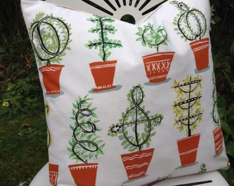 TOPIARY 1950s Botanical Plant Fabric Cushion Pillow Cover Only