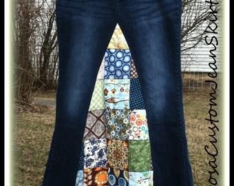 Classic Hippie Patchwork Denim Skirt Custom Listing for bruce7461