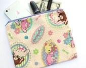 Kawaii Bunny Cosmetic Bag - cute rabbit makeup bag, clutch, zippered bag, school bag, pencil bag, pencil pouch, school supply bag