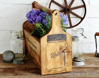 Farmhouse Wooden Tote with Paper Towel Holder - Handmade Rustic Mason Jar Graphics Kitchen Storage Orgaization One of a Kind