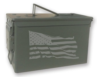 Engraved Ammo can - 14157 Waving American Flag