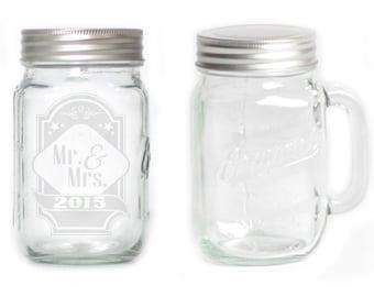 Mason Jar  Mug - 15 oz. small  2688 Mr & Mrs 2015
