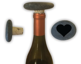 Engraved Symbol Wine Stopper on Natural Stone  - 6918 Solid Heart