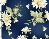 Tossed Daisies in Navy  8512-N  GENTLE BREEZE by Jan Douglas  for Maywood Fabrics - By the Yard