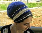 Dark Blue,Gold Dots Tichel,Unique jewish sinar Mitpachat,Made of Cotton and decorated with stripes of lace, easy to use head Scarf