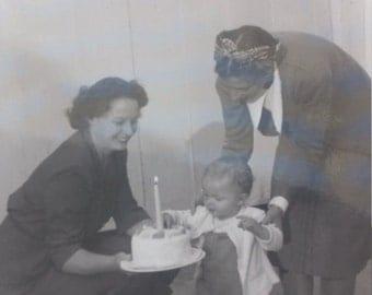 Old Photo Happy Birthday Vintage Photo Snapshot
