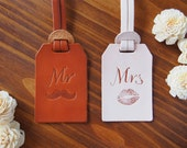 Custom Wedding Favors Leather Luggage Tags Monogrammed x 2 Bundle, Mr and Mrs, Handcrafted by Harlex