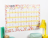 2017 Wall Calendar And Year Planner - Flamingo feathers illustrated - Office - Daily Planner