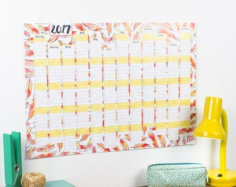 HALF PRICE - 2017 Wall Calendar And Year Planner - Flamingo Feathers 2017 Year Wall Planner - Student Year Wall Planner - 2017 Calendar
