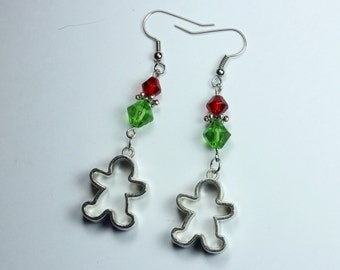 "Earrings - Gingerbread Man - Green and Red - Christmas Cookies ""Made by Mrs. Claus"""