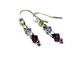 Wisteria Earrings - Lavender Swarovski Crystals, Sterling Silver Nuggets, Sterling Silver Ear Wires