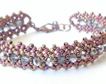 golden pink and crystal marea bracelet