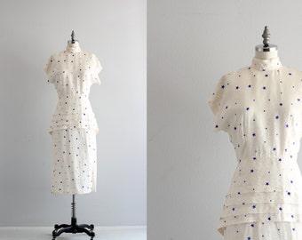 Vintage Star Print Dress . Dolman Sleeve Peplum Dress . Day Dress