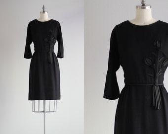 Retro Little Black Dress LBD . 1950s Dress . Long Sleeve Dress