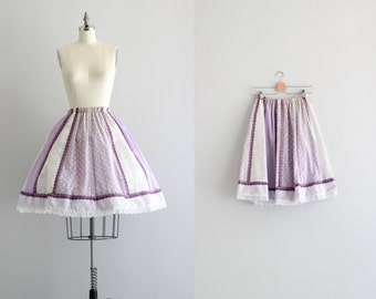 Retro Full Skirt . Boho Chic Vintage Skirt . Shades of Purple Midi Skirt