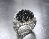 Black Onyx Ring, Fine Silver Wire Crochet Jewelry, Cluster Ring