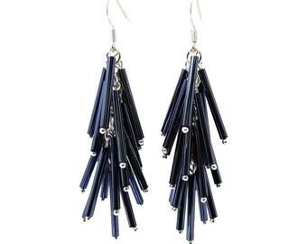 Black Gunmetal Vintage Long Bugle Beads Falling Cascade Earrings, Sterling Silver Ear Hooks, ER-0275