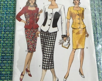 RARE 1990's Vogue Sewing Pattern 8634  Misses Jacket and Skirt Suit Size 8-12, - Uncut- vintage sewing pattern, vintage suit pattern