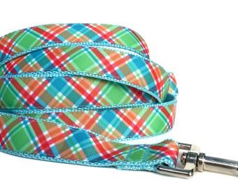 Plaid Dog Leash / Madras Dog Leash / Dog Leash / Blue Plaid Dog Leash