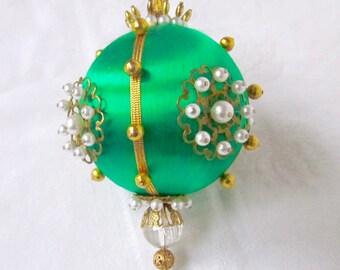 Green Christmas Ornament Jeweled Ornament Hollywood Regency Decoration Handmade 1960s