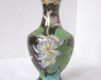 Cloisonne Vase Black Vintage Vase Floral Asian Vase Chinese Estate Find