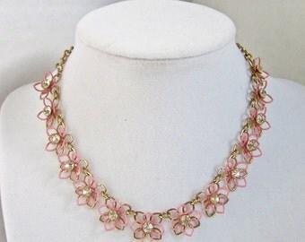 Pink Necklace Vintage Jewelry Rhinestone Flowers Vintage fashion Spring 1960s