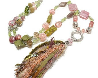 Long Tassel Necklace, Pink And Green, Bohemian Glam, Boho Chic Necklace, Long Statement Necklace, Handmade Tassel, Long Chunky Bold Necklace