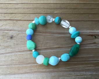 Ocean Colored Glass Beaded Bracelet- One of a kind Glass Bracelet