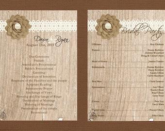 Rustic Wedding Program, Burlap Wedding Program, Lace Wedding Program, Country Wedding Program, Custom Wedding Program