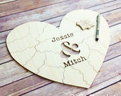 30 pc Wedding Guest Book Puzzle, guestbook alternative, wood HEART puzzle guest book Bella Puzzles™ rustic wedding, minimalist modern