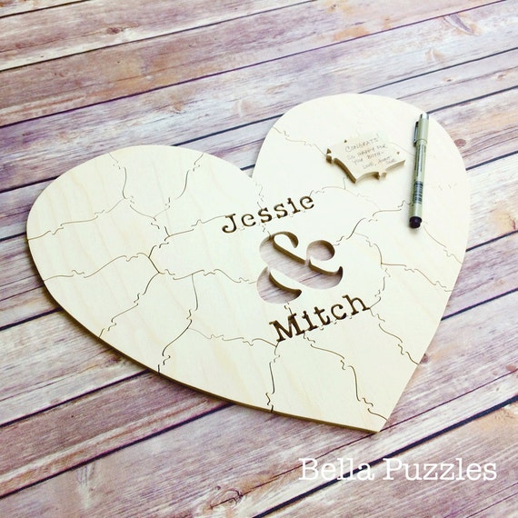 30 pc Wedding Guest Book Puzzle, guestbook alternative, wood HEART puzzle guest book Bella Puzzles™ rustic wedding, minimalist modern