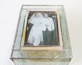 Stained Glass Keepsake 50th Wedding Anniversary Gift Box Golden Anniversary Wedding Picture Invitation Bride & Groom Handmade Custom