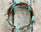 fairy forest beaded memory wire bracelet, boho, bohemian, hippie, colorful