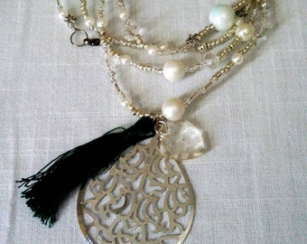 Long tassel necklace with big pendant /boho/wedding/ bride/ silver tone/ready to ship