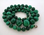 Vintage Graduating Malachite Bead Necklace