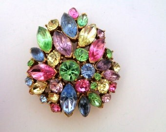 Pastel Color Crystal Rhinestone Brooch Unsigned